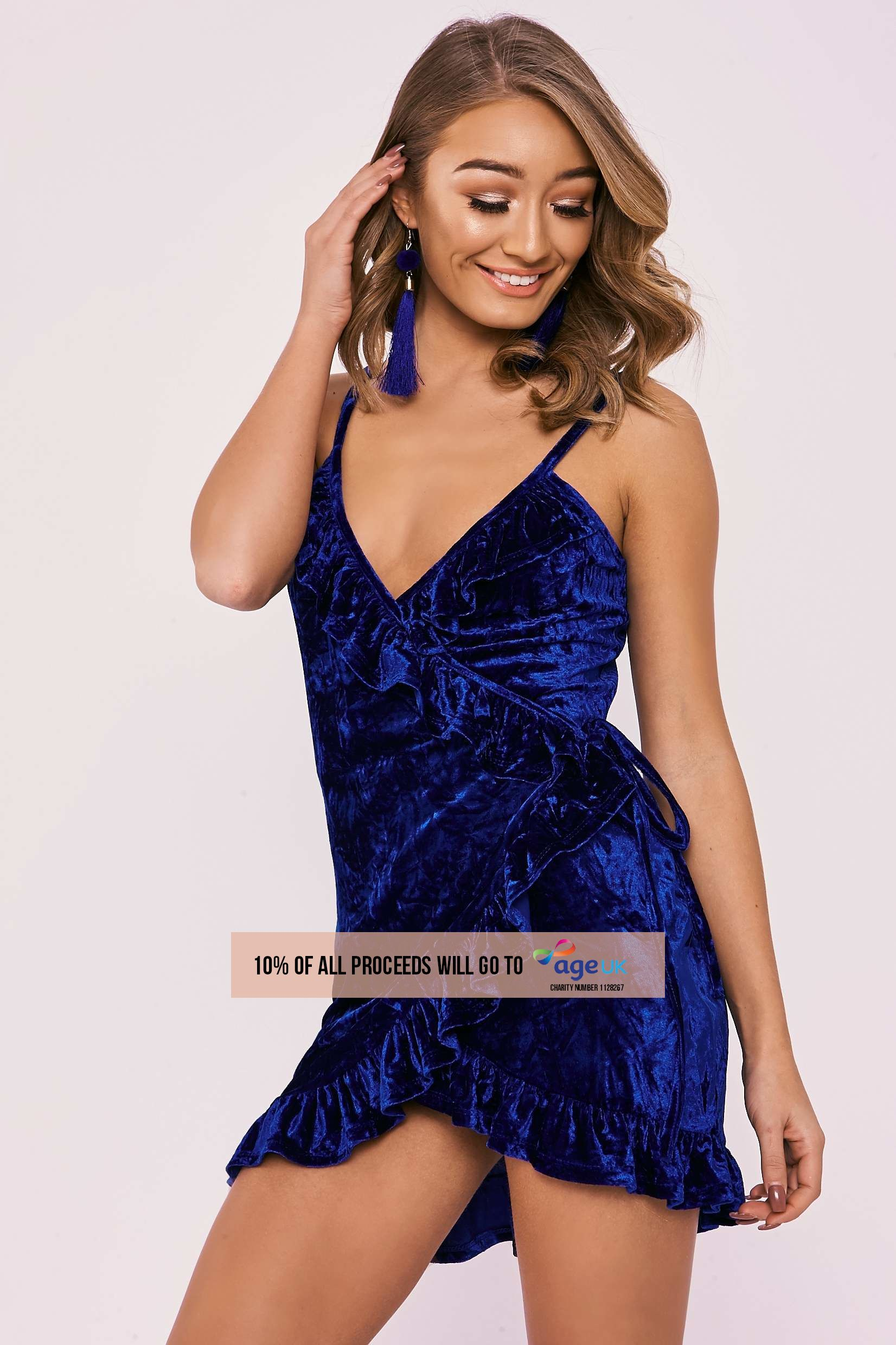 cobalt crushed velvet wrap over mini dress