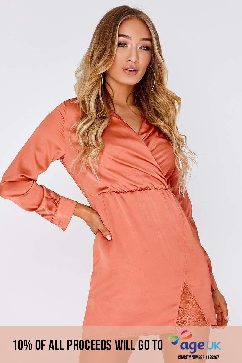 orange satin wrap dress
