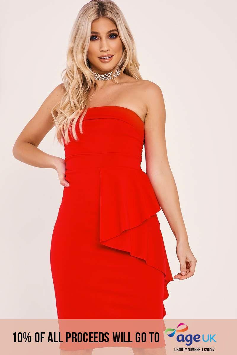 red frill waist bandeau midi dress