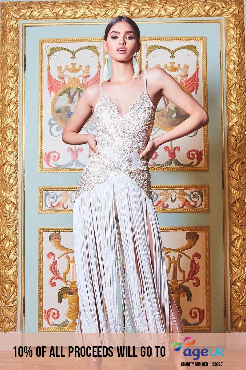 PREMIUM CREAM SCALLOP EDGE METALLIC LACE EXTREME TASSEL DRESS