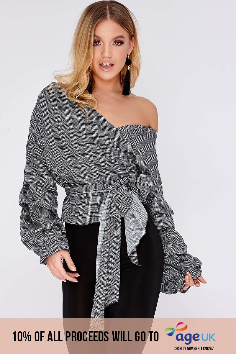LOURA GREY HOUNDSTOOTH RUCHED SLEEVE WRAP TOP