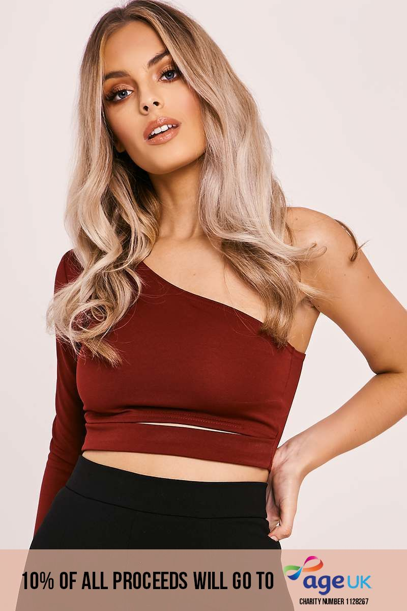 burgundy one shoulder cut out crop top