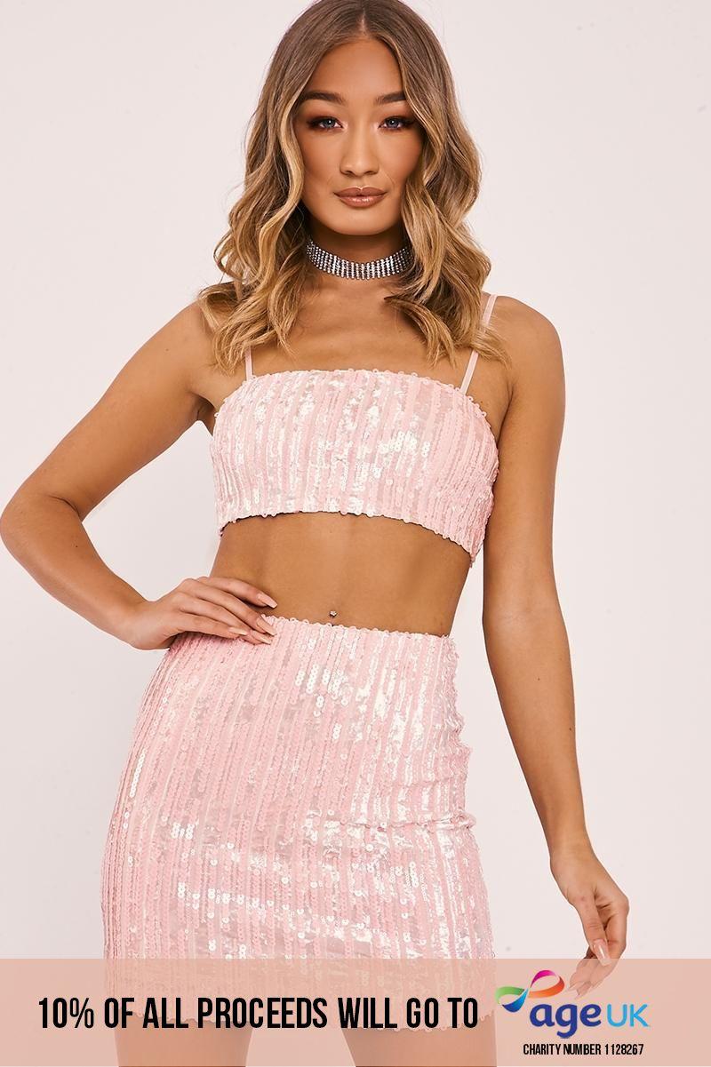 pink velvet sequin crop top