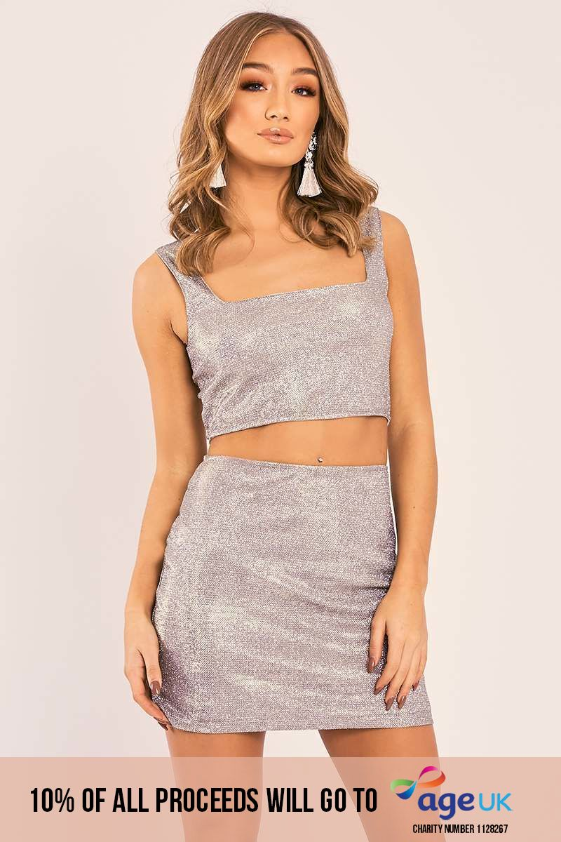 IZABELLA METALLIC SILVER DETAIL CROP TOP