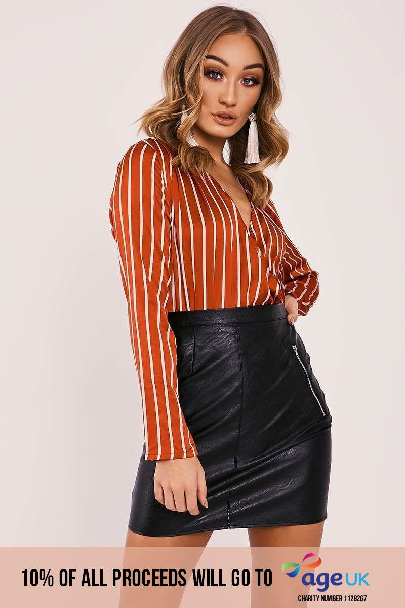 red stripe satin bodysuit