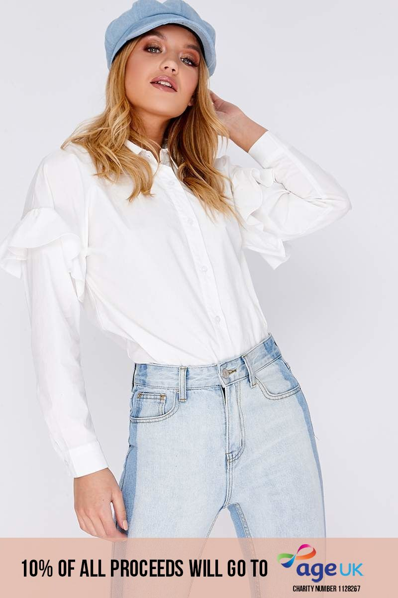 white frill detail shirt