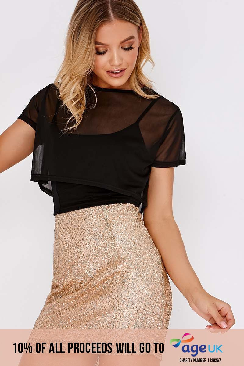 gold glitter mini skirt