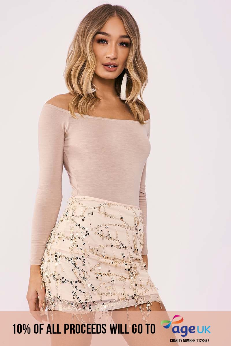 rose gold sequin tassel skirt
