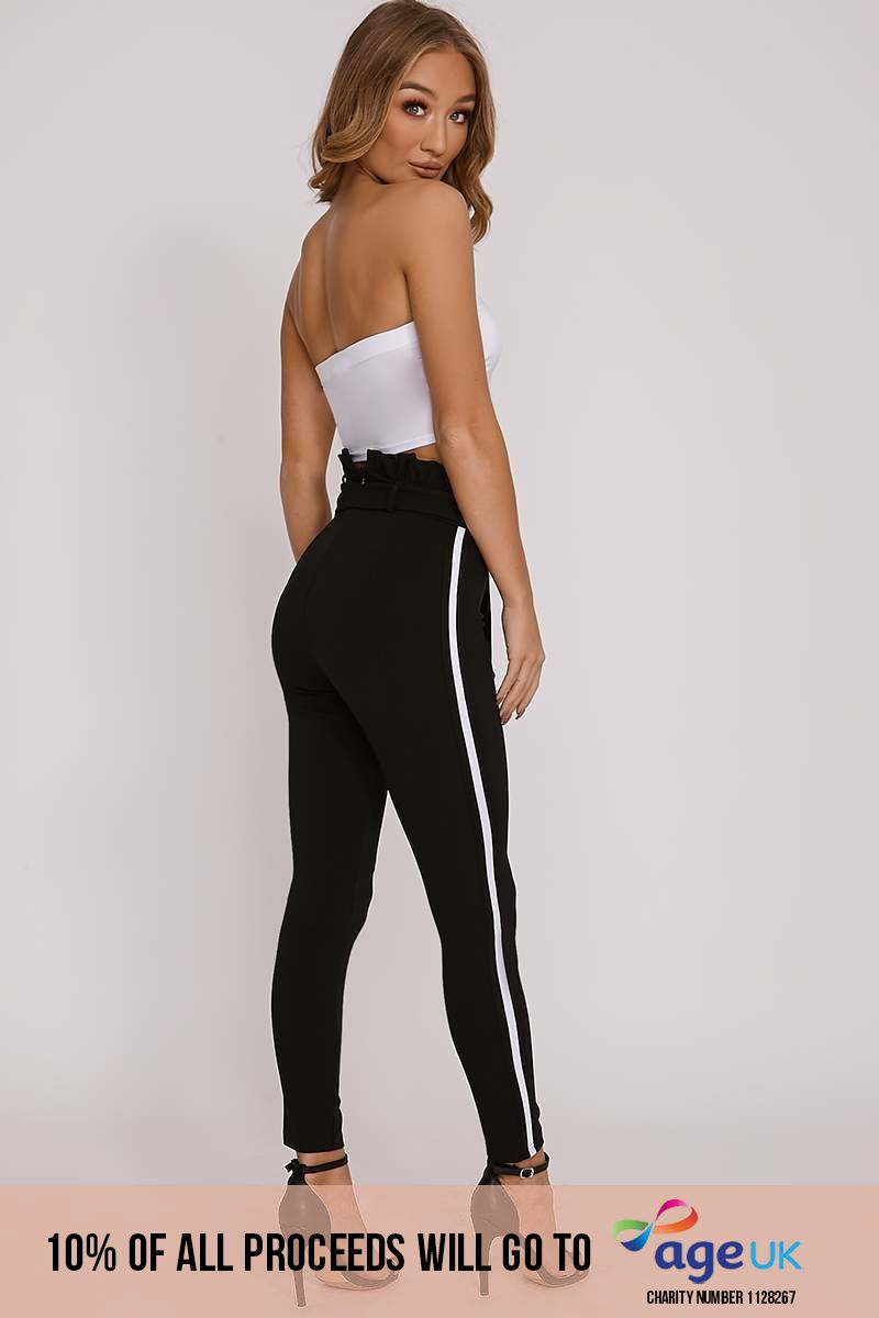 MAYCI BLACK SPORTS STRIPE PAPERBAG TROUSERS
