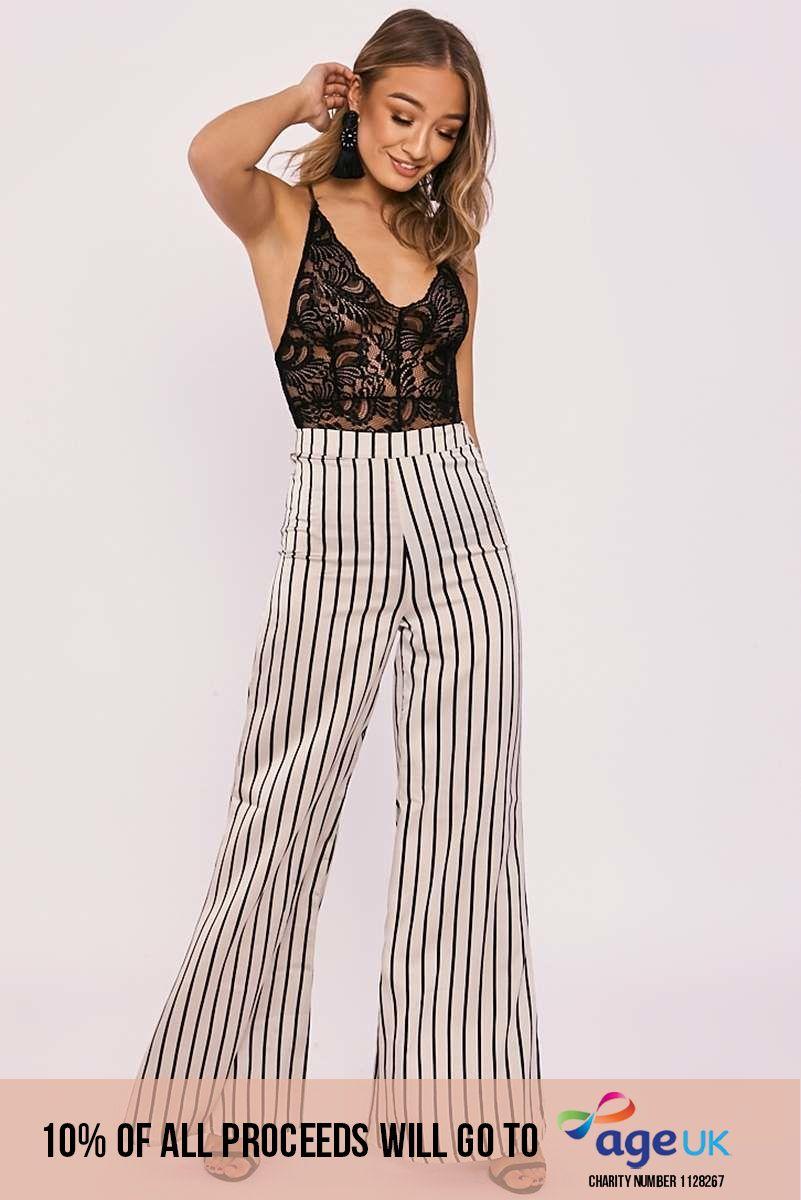 cream stripe satin flared trousers