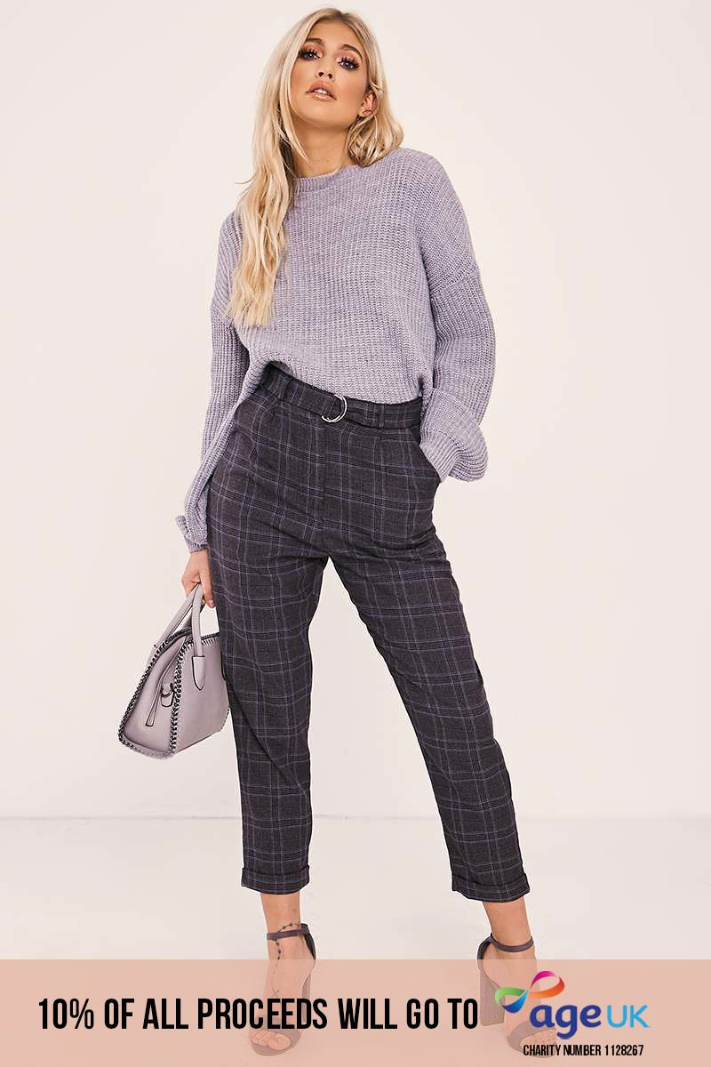 JALISSA GREY CHECKED TAILORED TROUSERS