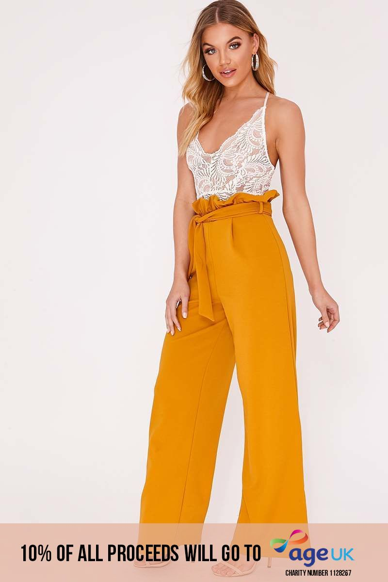 mustard wide leg paperbag trousers