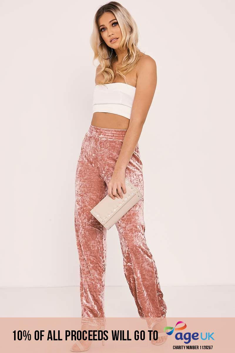pink crushed velvet jog trousers