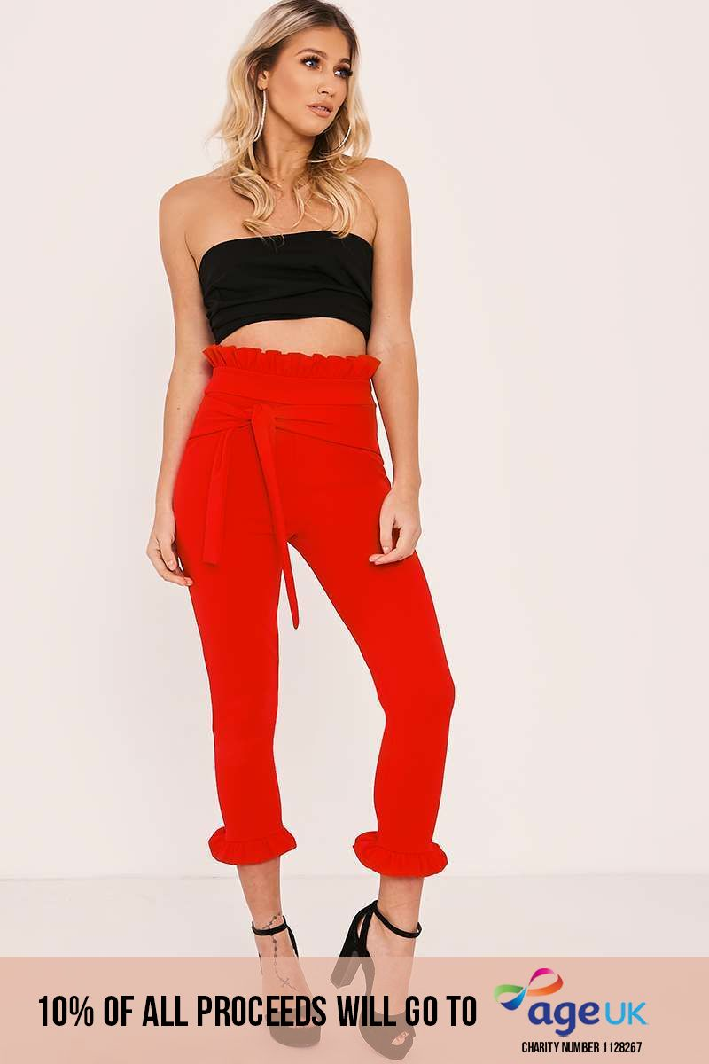 red frill hem trousers