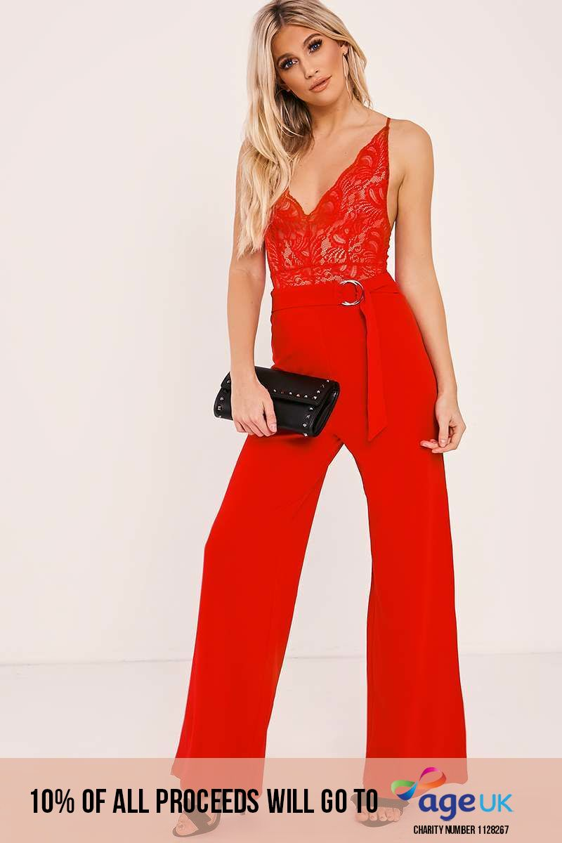 OLYMPIA RED RING BELT WIDE LEG TROUSERS