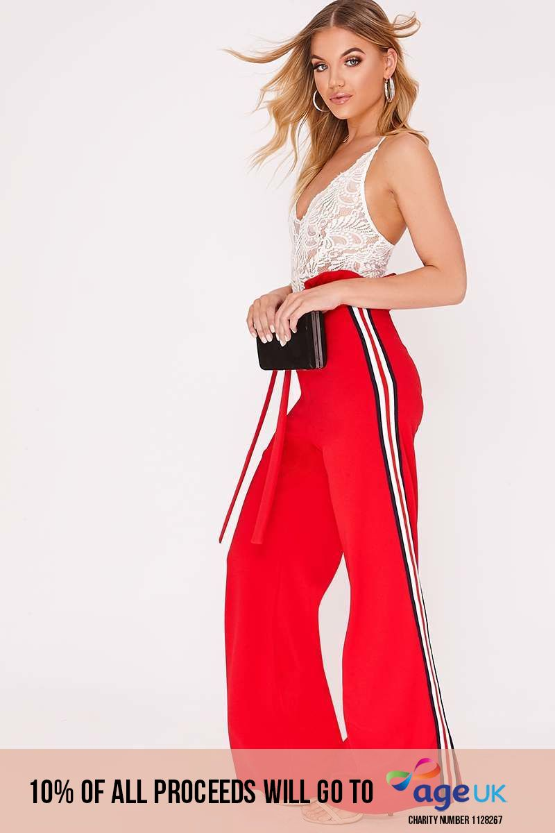 red sports stripe wide leg paperbag trousers