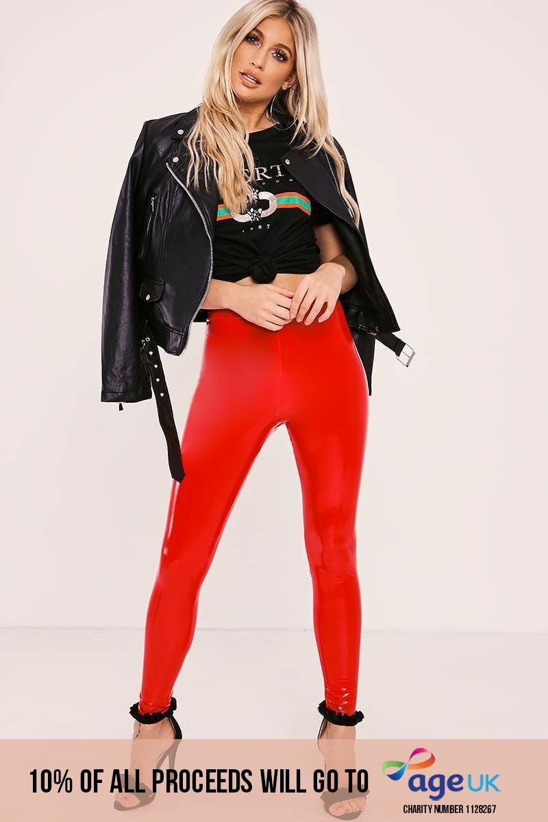 red vinyl trousers