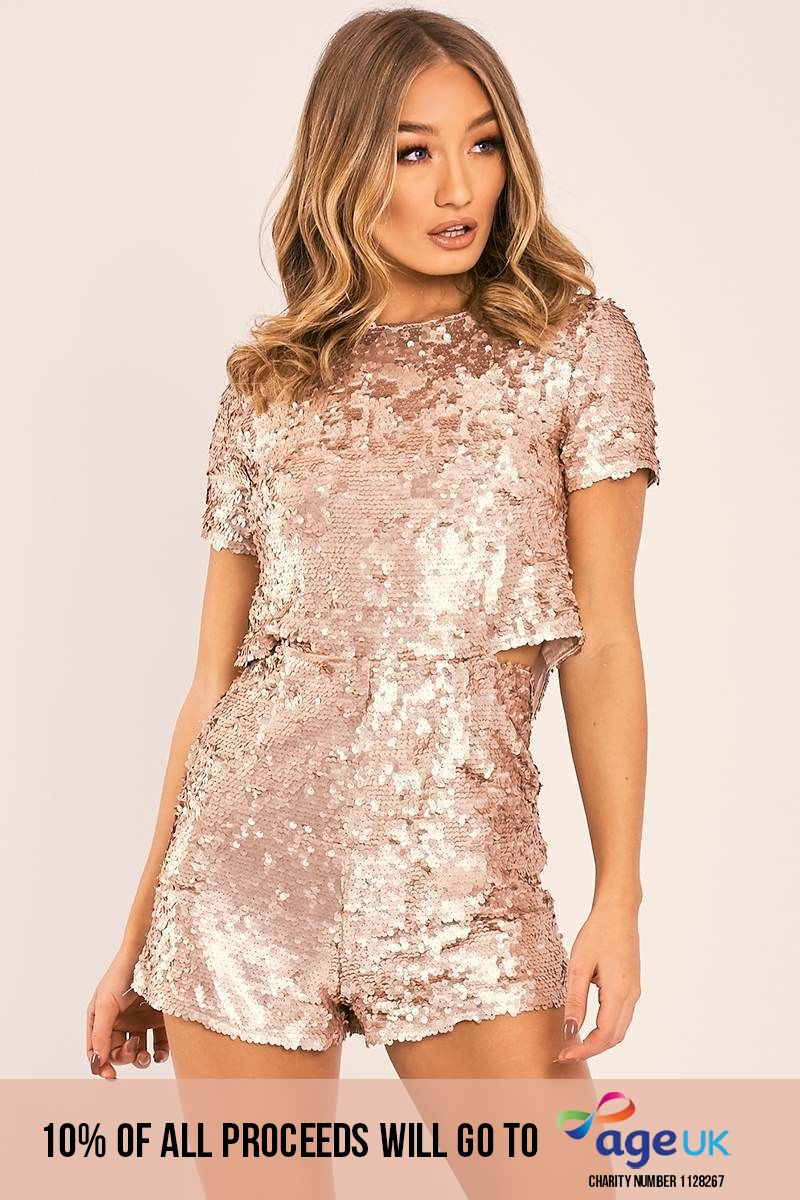 SURRI ROSE GOLD SEQUIN SPLIT BACK PLAYSUIT