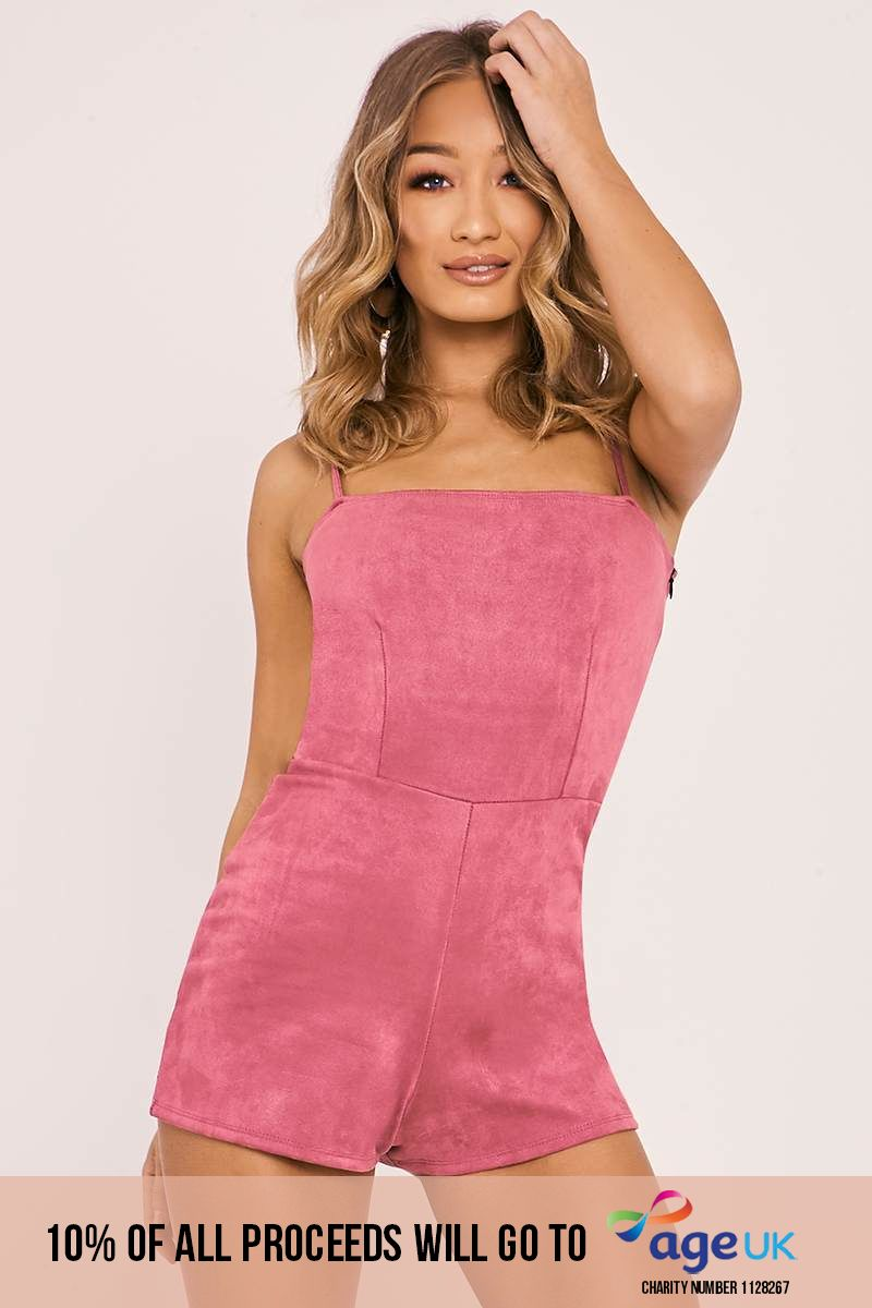 rose faux suede cami playsuit