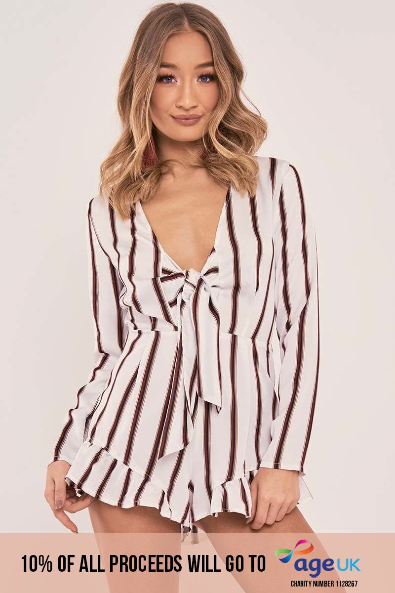 white stripe silky tie front playsuit