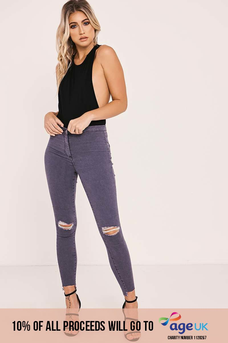 ALLYSON CHARCOAL HIGH WAISTED RIP KNEE SKINNY JEANS