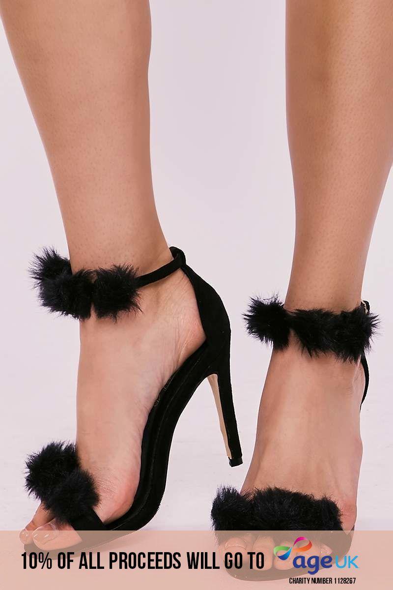 black faux fur pom pom barely there heels