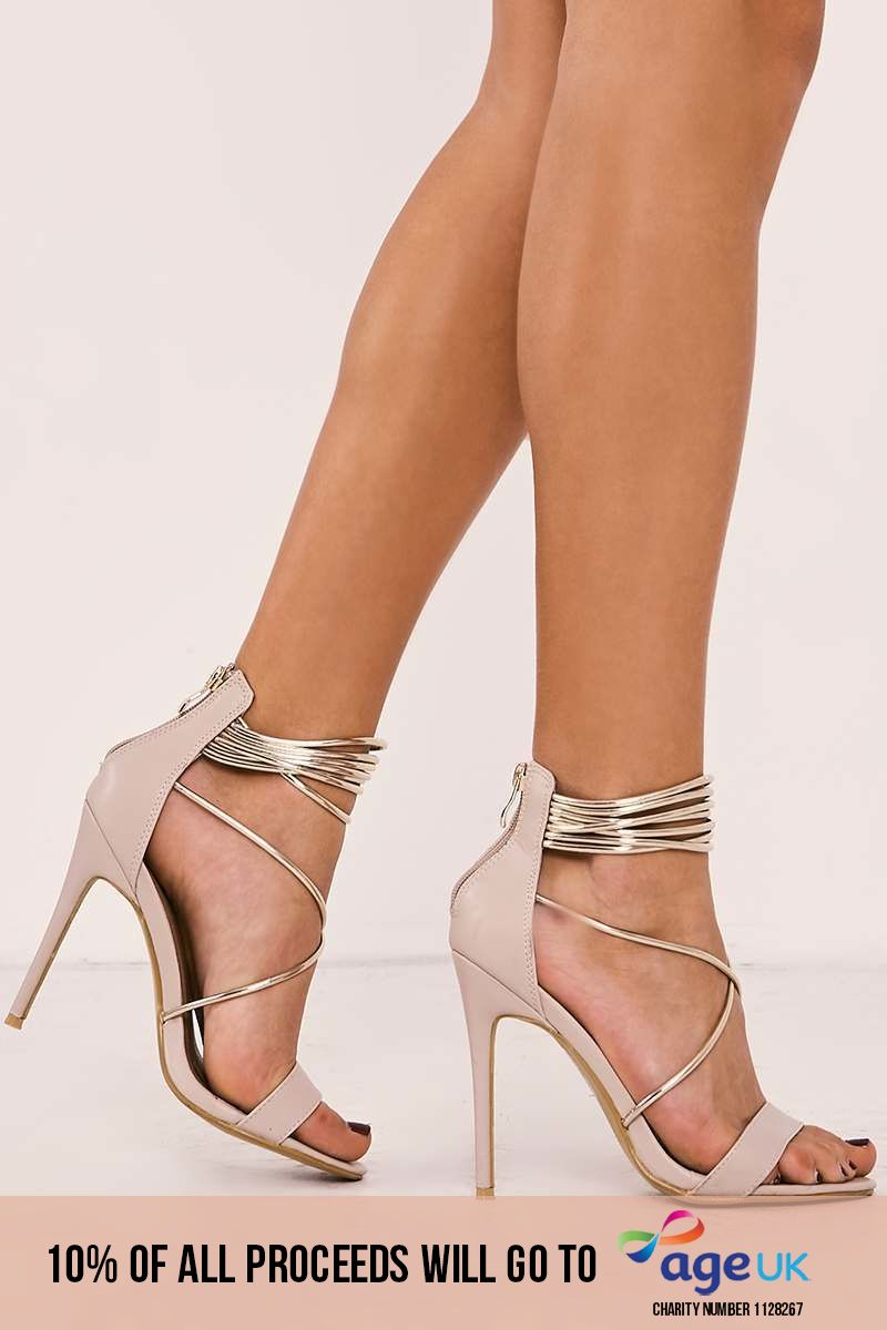 nude faux leather gold contrast strap heels