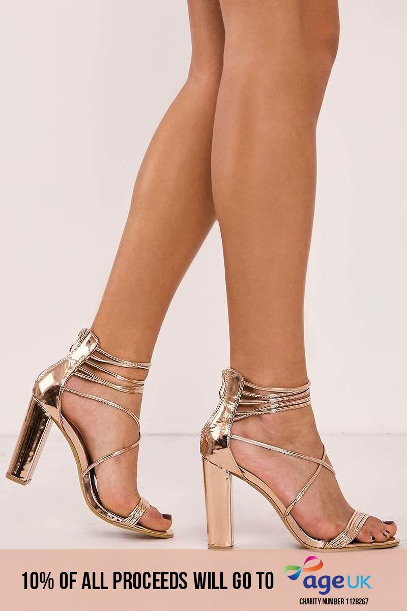 rose gold multi strap heels