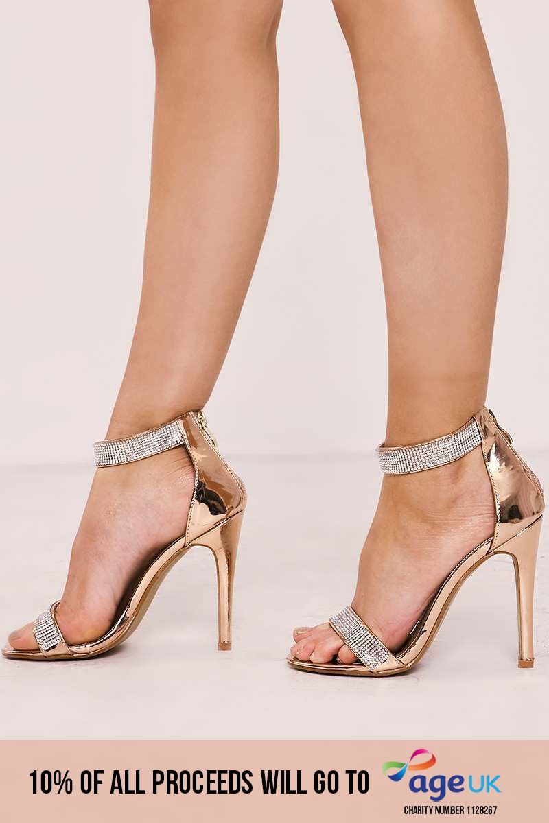 rose gold diamante barely there heels
