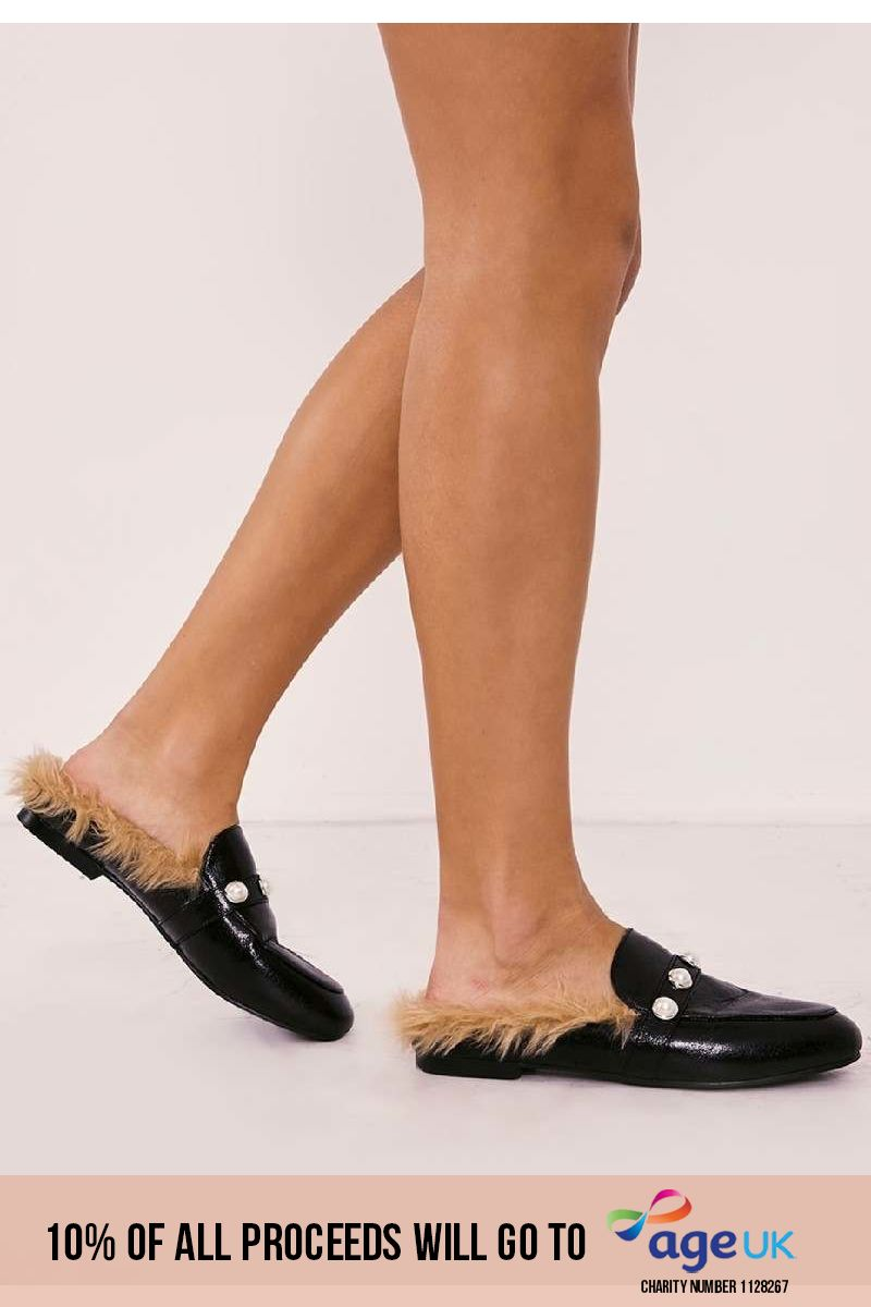 black pearl detail faux fur backless loafer