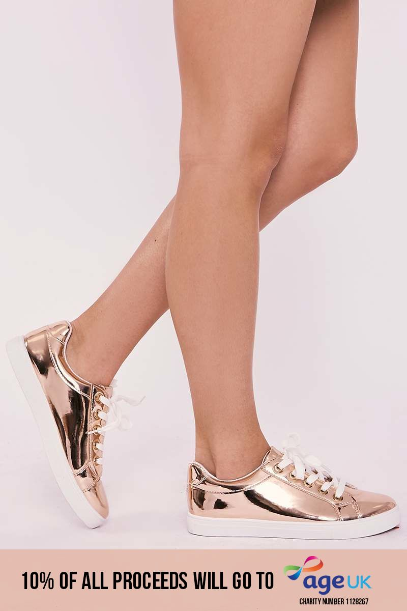 ZANA ROSE GOLD METALLIC TRAINERS