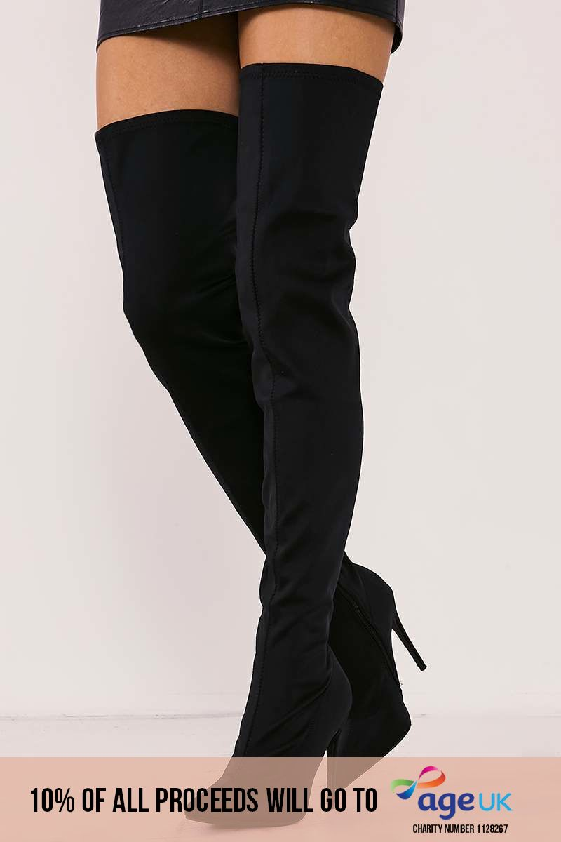 black lycra sock over the knee heeled boots