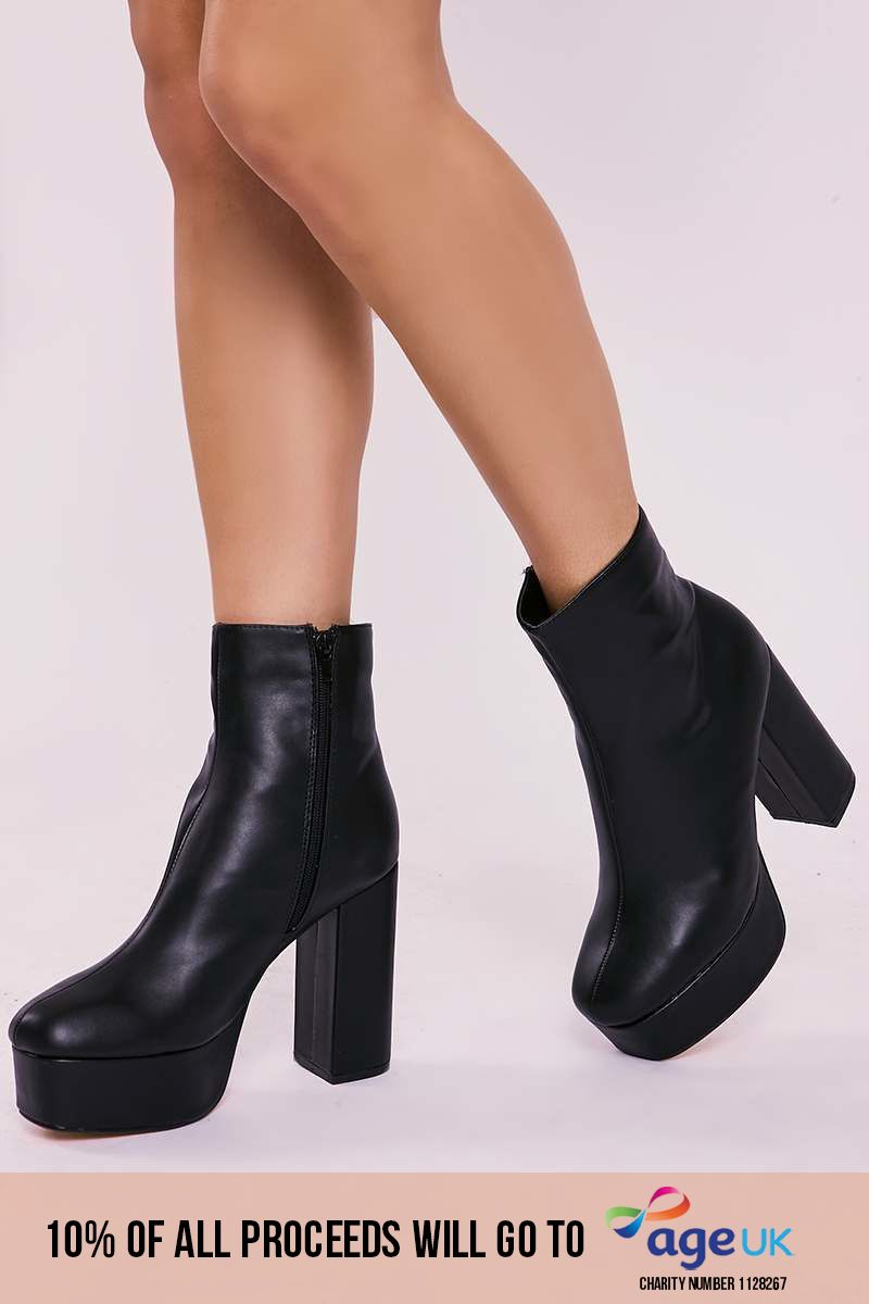 black faux leather platform heeled ankle boots