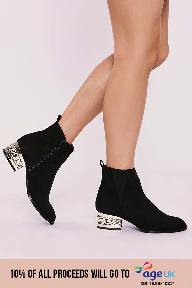 black faux suede heel detail ankle boots