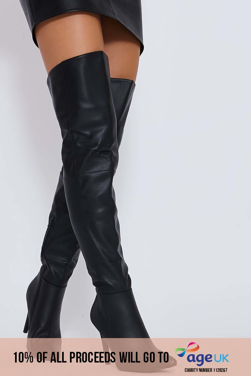 black faux leather over the knee heeled boots