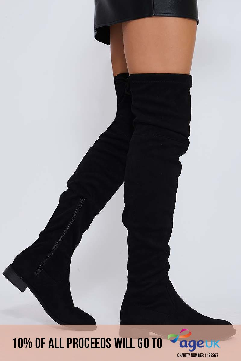 black stretch faux suede over the knee boots