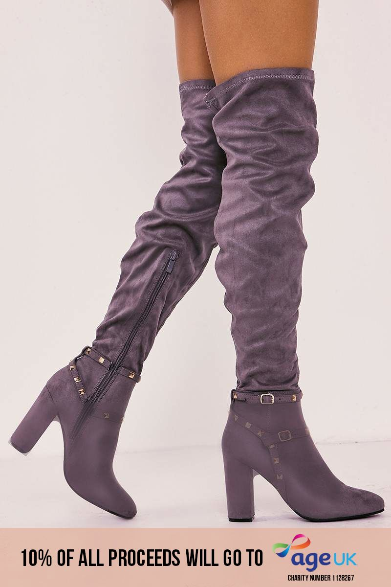grey faux suede studded over the knee boots