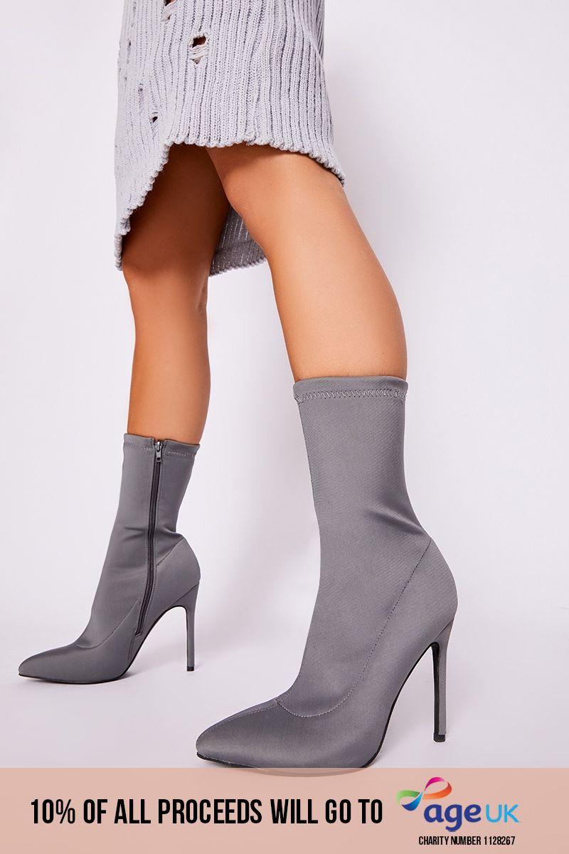 grey lycra sock heeled boots