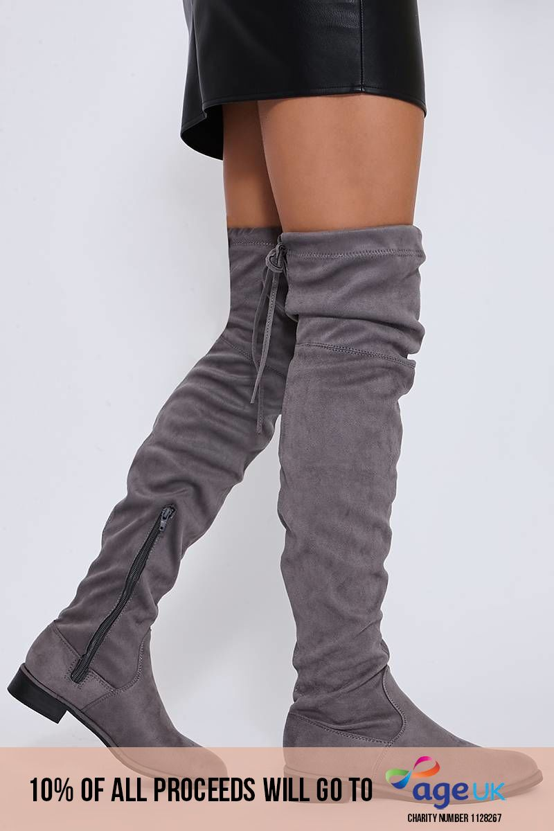 light grey stretch faux suede over the knee boots