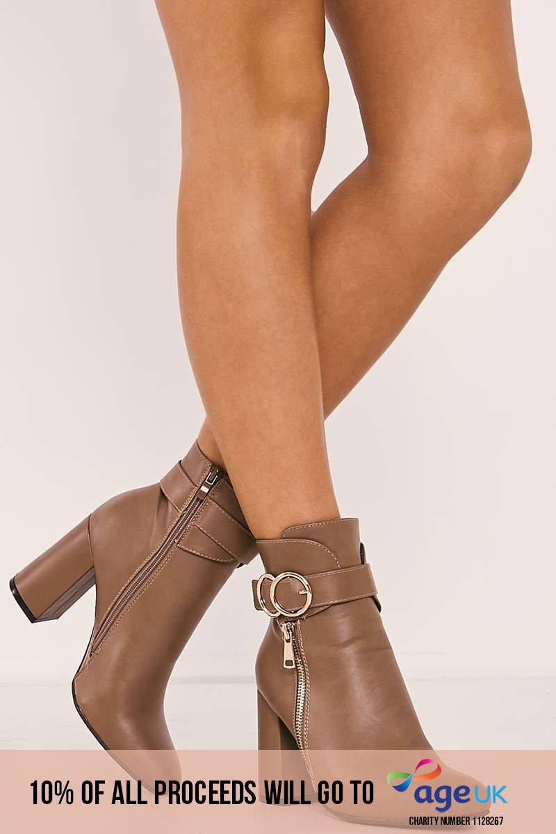 TOBI TAN FAUX LEATHER BUCKLE STRAP HEELED ANKLE BOOTS