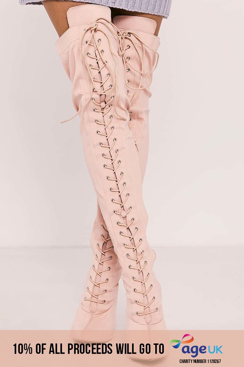 nude lace up front over the knee heeled boots