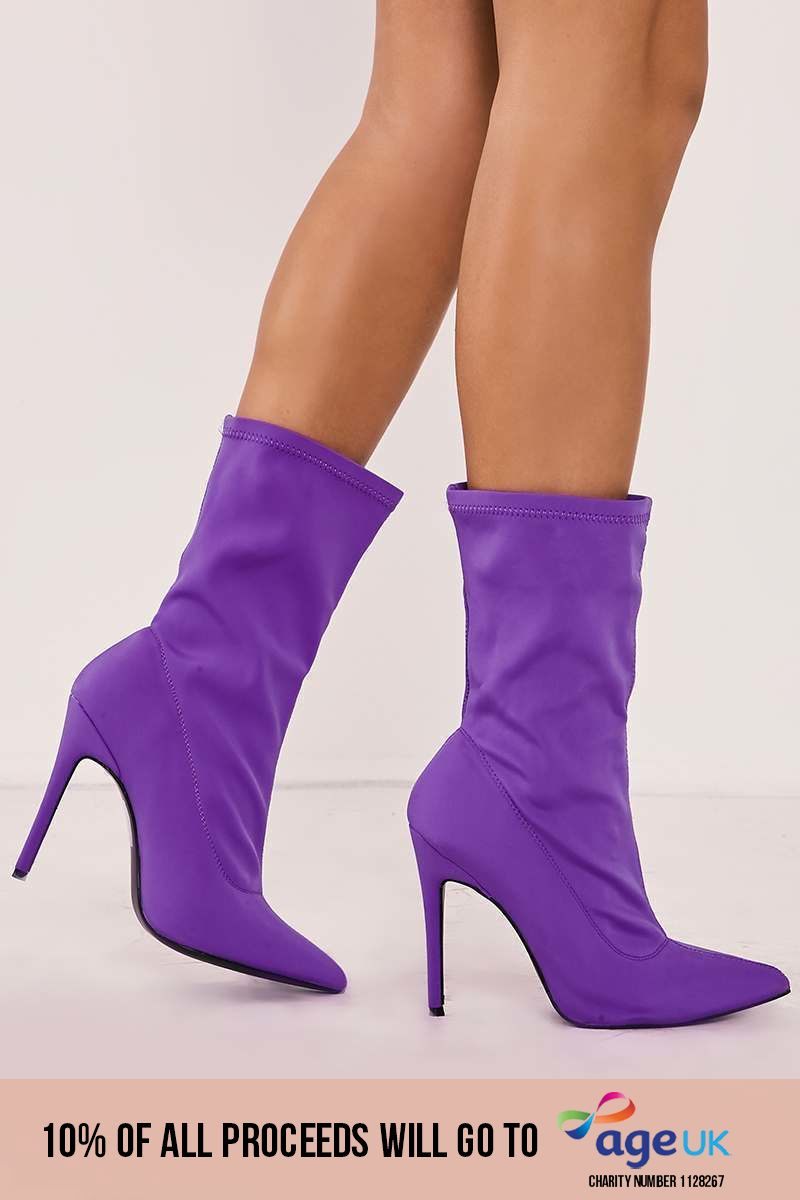 purple lycra sock heeled boots