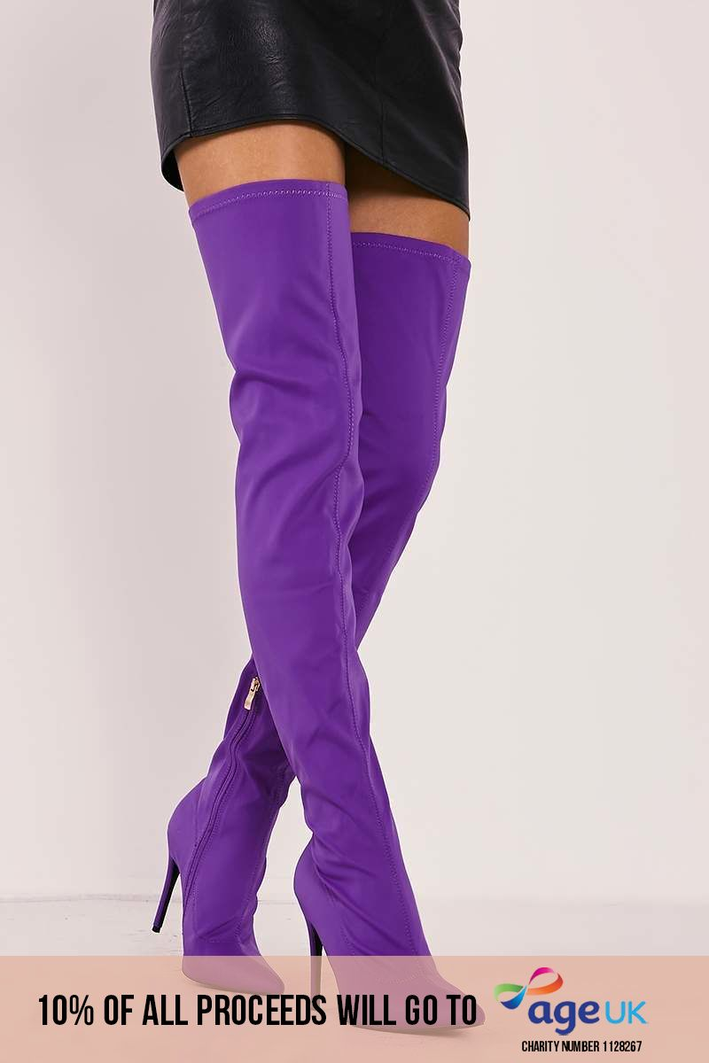 purple lycra sock over the knee heeled boots