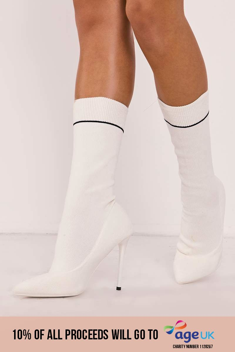 white knitted stripe pointed ankle boots