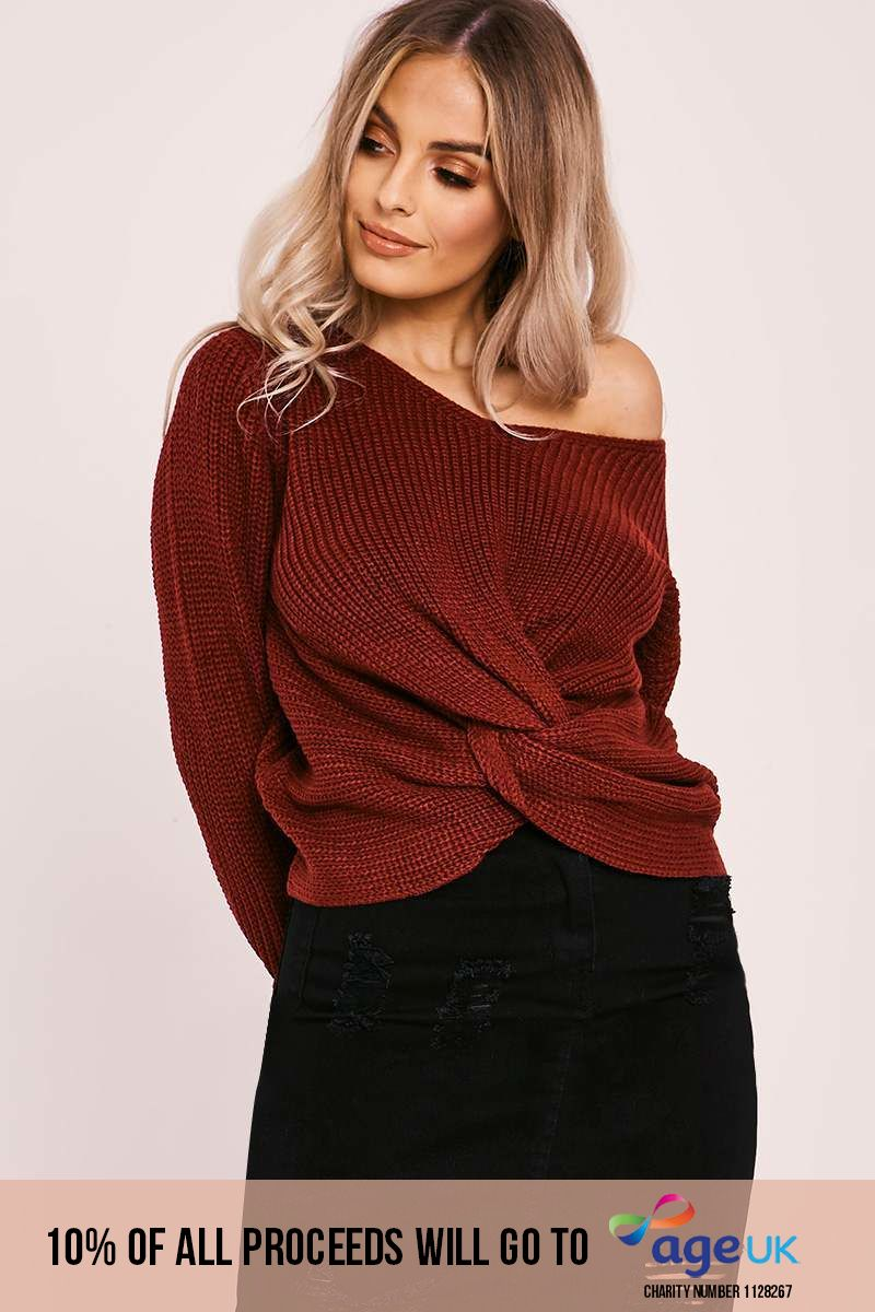 wine knot front knitted jumper