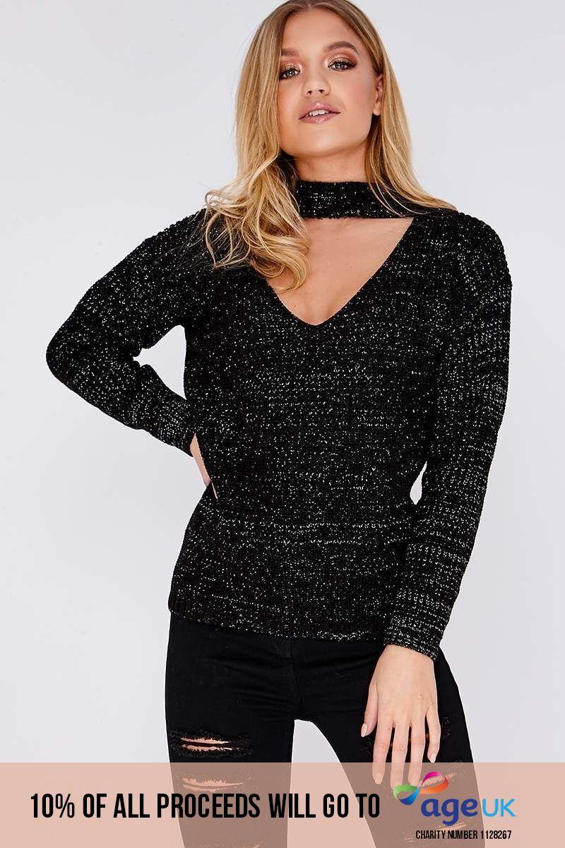 black lurex choker neck knitted jumper