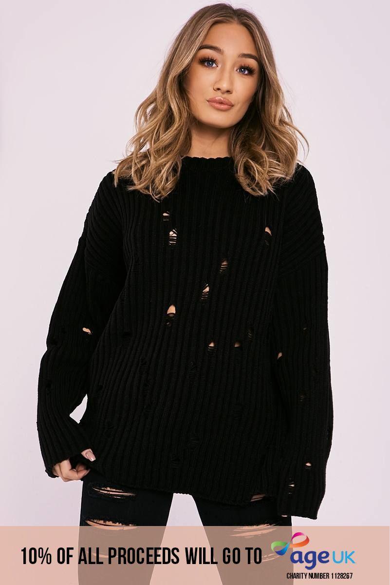 black distressed oversized jumper