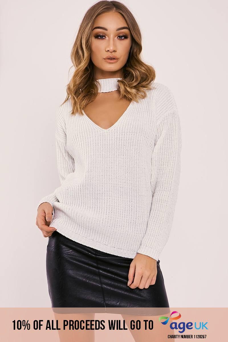 cream lurex choker neck knitted jumper
