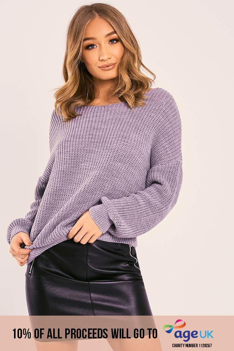 grey twist back knitted jumper