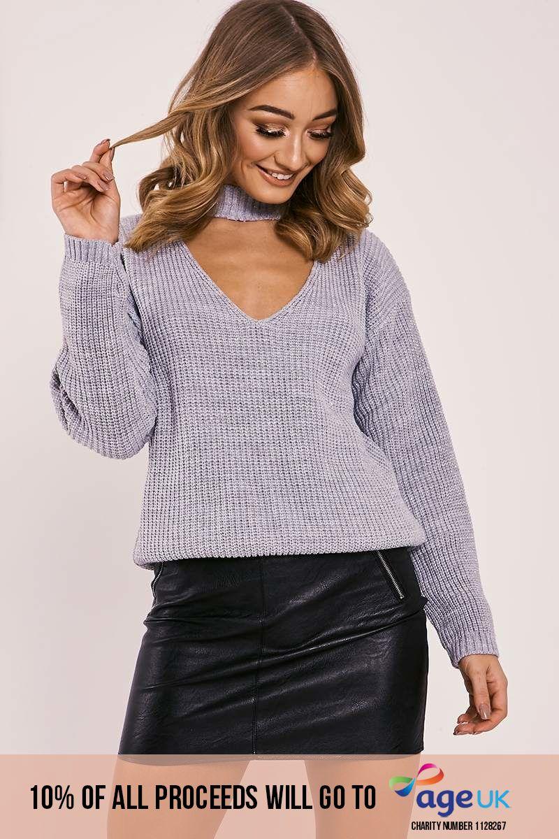 grey lurex choker neck knitted jumper